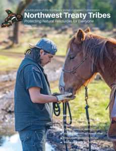 Nisqually tribal ranch hand and horse, Buck